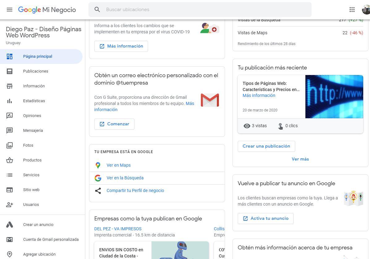 Como usar google My Business - Panel de Google My Business