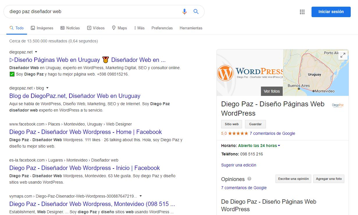 Como usar google My Business - Vista Previa en SERP