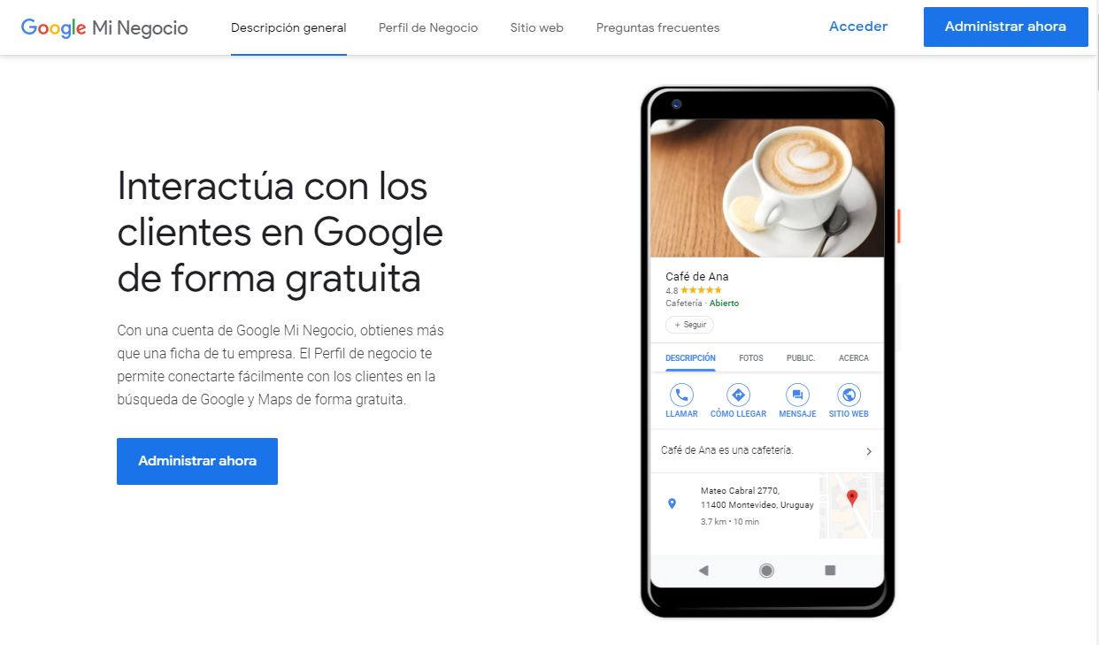 Pagina Principal de Google Mi negocio